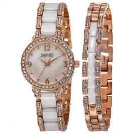 Marquess Women's Crystal Bezel MOP Dial Bracelet Accessory AS8142