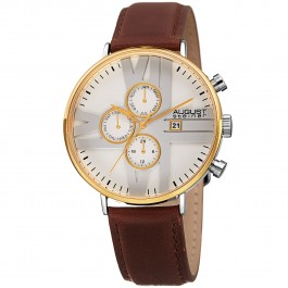 Urbane Men's Roman Numeral Dial Plate Multi-Function Leather AS8212