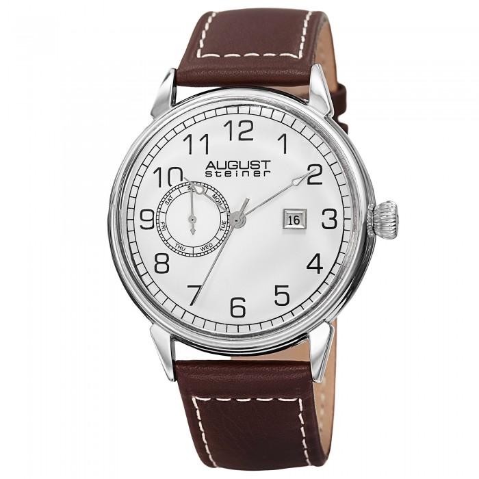 Endeavor Men's Polished Bezel Matte Dial Leather Strap AS8182