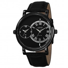 Urbane Men's Step Bezel Dual Time Leather Strap AS8146