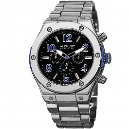 Mercury Men's Screw Accented Bezel Checkered Dial Multi-Function Bracelet AS8126