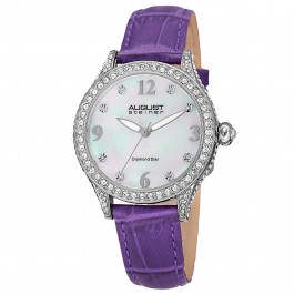 Marquess Women's Crystal Bezel MOP Dial Diamond Markers Leather AS8188