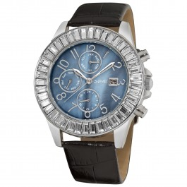 Vida Women's Crystal Bezel MOP Dial Leather Strap AS8037