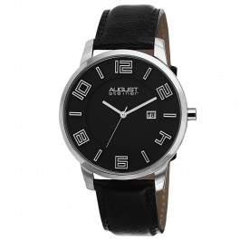 Endeavor Men's Polished Bezel Step Dial Leather Strap AS8108