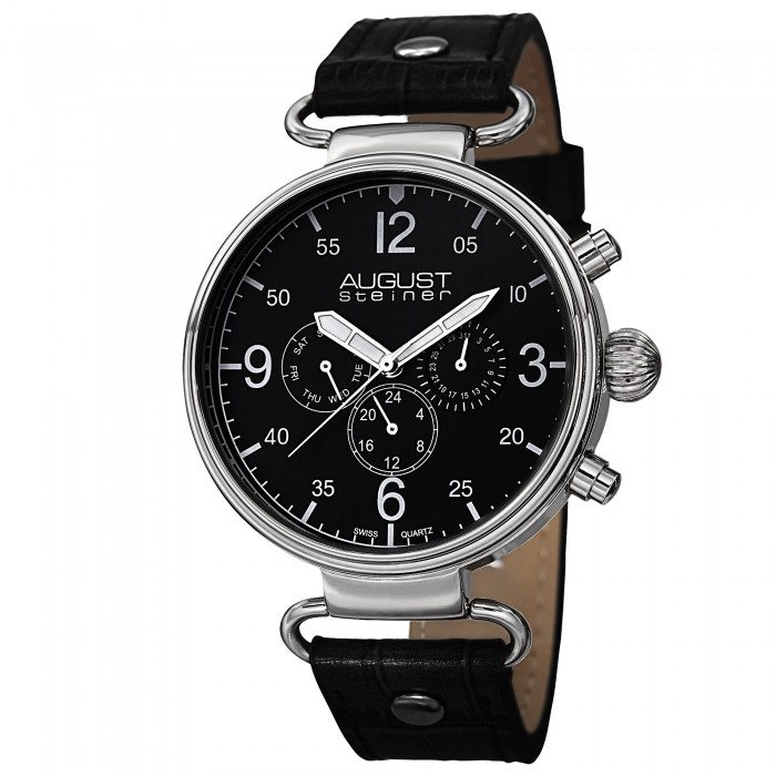 Endeavor Men's Polished Bezel Matte Dial Multi-Function Leather AS8131