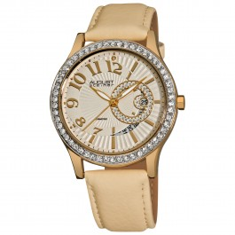 Vida Women's Crystal Bezel Graduated Sunray Dial Leather AS8042