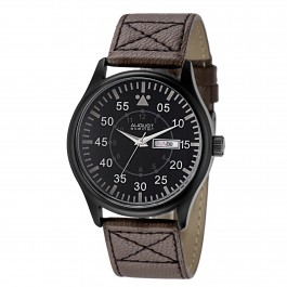 Mercury Men's Pilot Style Matte Dial Leather Strap AS8074