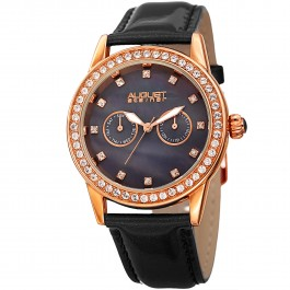 Vida Women's Crystal Bezel and Markers MOP Dial Leather AS8234