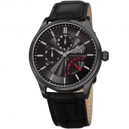 Urbane Men's Polished Bezel Textured Dial Retrograde Day Leather AS8209