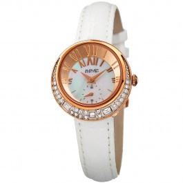 Vida Women's Off-Center MOP Dial Leather Strap AS8029
