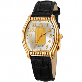 Marquess Women's Tonneau Case Certified Gold Ingot Leather Strap AS8225