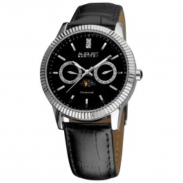Kingsman Men's Ribbon Bezel Diamond Markers Leather AS8051