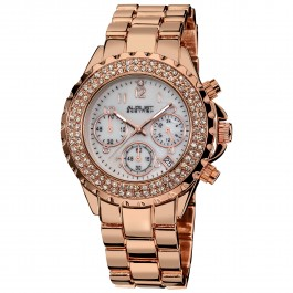 Marquess Women's Crystal Bezel MOP Dial Chronograph Bracelet AS8031