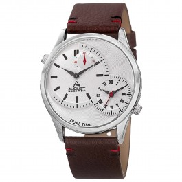 Urbane Men's Textured Dial Dual Movement Leather Strap AS8167