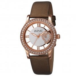 Vida Women's Crystal Bezel Skeleton Heart Dial Leather AS8176