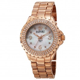 Marquess Women's Crystal Bezel MOP Dial Diamond Markers Bracelet AS8172