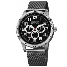 Urbane Men's Milled Coin Edge Bezel Multi-Function Mesh Bracelet AS8115