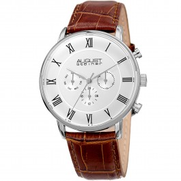 Endeavor Men's Step Dial Multi-Function Leather Strap AS8214