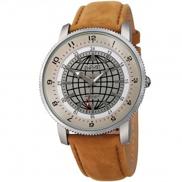 Urbane Men's Coin Edge Bezel Globe Dial Leather AS8213